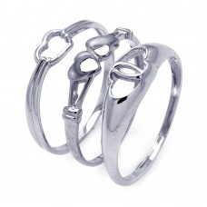 **Closeout** Wholesale Sterling Silver 925 Rhodium Plated Open Heart Ring Set - STR00793