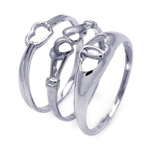 -Closeout- Wholesale Sterling Silver 925 Rhodium Plated Open Heart Ring Set - STR00793