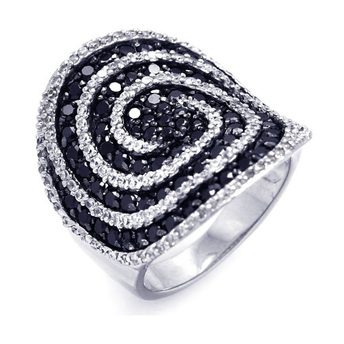 -Closeout- Wholesale Sterling Silver 925 Rhodium and Black Rhodium Plated Black and Clear CZ Cigar Band Spiral Ring - STR00819