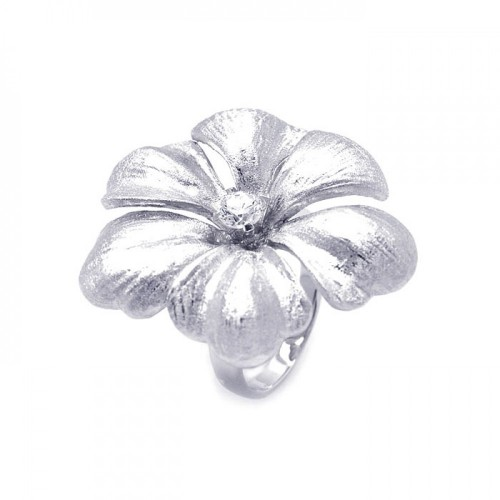 Wholesale Sterling Silver 925 Rhodium Plated Matte Finish Single CZ Flower Ring - STR00820