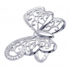 -Closeout- Wholesale Sterling Silver 925 Rhodium Plated CZ Large Butterfly Ring - STR00830