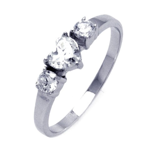 Wholesale Sterling Silver 925 Rhodium Plated CZ Past Present Future Heart Ring - STR00835