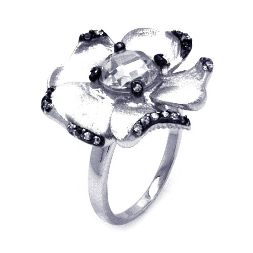 -Closeout- Wholesale Sterling Silver 925 Rhodium and Black Rhodium Plated CZ Flower Ring - STR00854