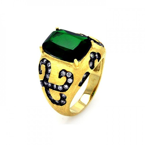 -Closeout- Wholesale Sterling Silver 925 Black Rhodium and Gold Plated Green Center and Clear CZ Cigar Band Ring - STR00855