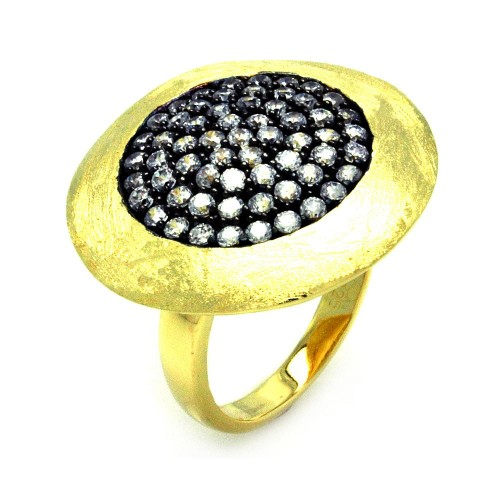 -Closeout- Wholesale Sterling Silver 925 Black Rhodium and Gold Plated Pave Set Clear CZ Circle Ring - STR00856