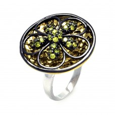 **Closeout** Sterling Silver Rhodium Black Rhodium and Gold Plated Black and Yellow CZ Flower Disc Ring - STR00862