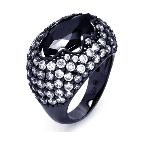 -Closeout- Wholesale Sterling Silver 925 Black Rhodium Plated Black Center Pave Set Clear CZ Cigar Band Ring - STR00864