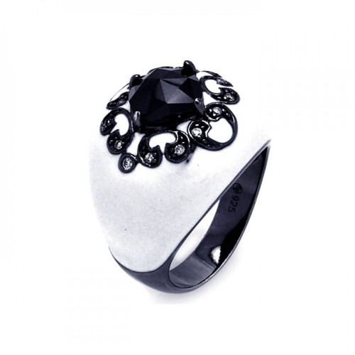 -Closeout- Wholesale Sterling Silver 925 Rhodium and Black Rhodium Plated White Enamel Black Center Clear CZ Cigar Band Ring - STR00868