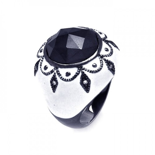 -Closeout- Wholesale Sterling Silver 925 Black Rhodium Plated White Enamel Black Center Clear CZ Cigar Band Dome Ring - STR00869
