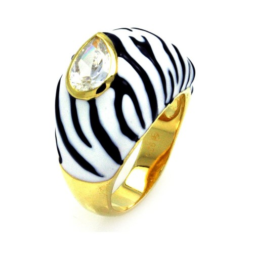 -Closeout- Wholesale Sterling Silver 925 Gold Plated Black White Enamel Clear Pear CZ Zebra Stripe Dome Ring - STR00873