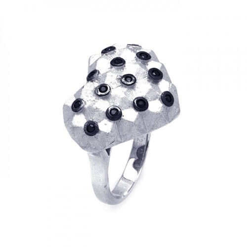 -Closeout- Wholesale Sterling Silver 925 Rhodium and Black Rhodium Plated Matte Finish Black CZ Dotted Heart Ring - STR00876