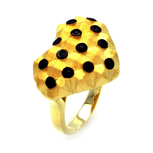 -Closeout- Wholesale Sterling Silver 925 Black Rhodium and Gold Plated Matte Finish Black CZ Dotted Heart Ring - STR00877