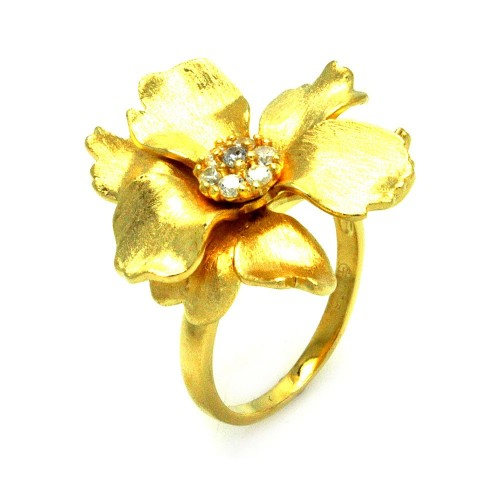 -Closeout- Wholesale Sterling Silver 925 Gold Plated Matte Finish Clear CZ Flower Ring - STR00881