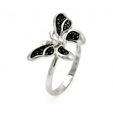 -Closeout- Wholesale Sterling Silver 925 Rhodium and Black Rhodium Plated Black Pave Set CZ Butterfly Ring - STR00893