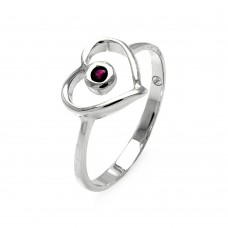 Wholesale Sterling Silver 925 Rhodium Plated Small Red CZ Open Heart Ring - STR00900