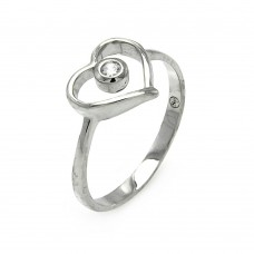 Wholesale Sterling Silver 925 Rhodium Plated Small Round CZ Open Heart Ring - STR00901