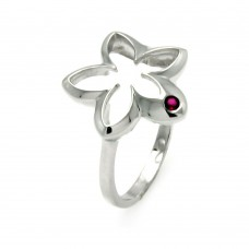**Closeout** Wholesale Sterling Silver 925 Rhodium Plated Small Red CZ Open Flower Ring - STR00902