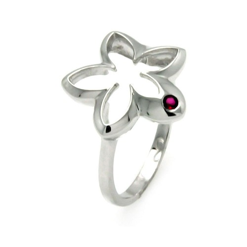 -Closeout- Wholesale Sterling Silver 925 Rhodium Plated Small Red CZ Open Flower Ring - STR00902