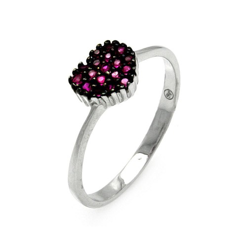 -Closeout- Wholesale Sterling Silver 925 Rhodium Plated Red Round CZ Heart Ring - STR00905