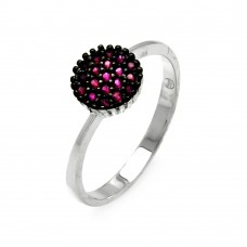 **Closeout** Wholesale Sterling Silver 925 Rhodium Plated Red Round CZ Ring - STR00906