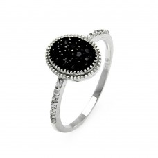 Sterling Silver Black and Silver Rhodium Plated Round Oval Circle CZ Ring - STR00908