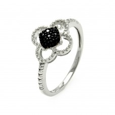 Sterling Silver Black and Silver Rhodium Plated Black and Clear CZ Flower Ring - STR00909