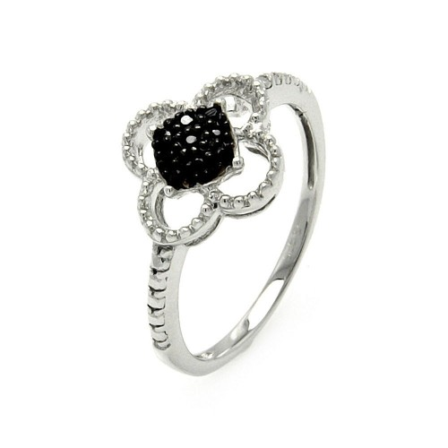 Wholesale Sterling Silver 925 Black and Silver Rhodium Plated Black and Clear CZ Flower Ring - STR00909