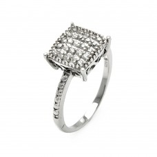 **Closeout** Wholesale Sterling Silver 925 Rhodium Plated Small Round CZ Square Ring - STR00911