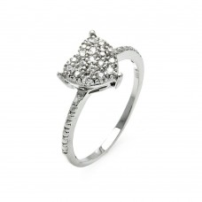 **Closeout** Wholesale Sterling Silver 925 Rhodium Plated Small Round Clear CZ Heart Ring - STR00912