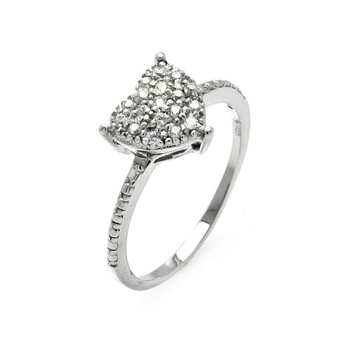 -Closeout- Wholesale Sterling Silver 925 Rhodium Plated Small Round Clear CZ Heart Ring - STR00912