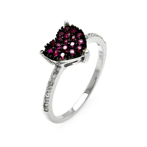 Wholesale Sterling Silver 925 Rhodium Plated Small Red CZ Heart Ring - STR00913