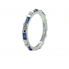 Wholesale Sterling Silver 925 Rhodium Plated Blue CZ Stackable Eternity Ring - BGR00621