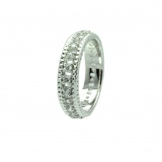 Wholesale Sterling Silver 925 Rhodium Plated Channel Set Clear CZ Eternity Ring - BGR00723