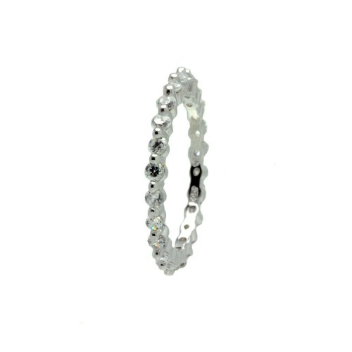 Wholesale Sterling Silver 925 Rhodium Plated Clear CZ Stackable Eternity Ring - BGR00726