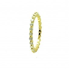 Wholesale Sterling Silver 925 Gold Plated Clear CZ Stackable Eternity Ring - BGR00728