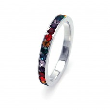 Sterling Silver Rhodium Plated Multicolor Channel CZ Band mulband