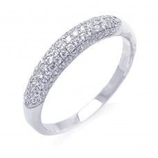 Sterling Silver Rhodium Plated Micro Pave CZ Ring - ACR00032