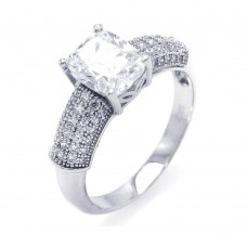 Sterling Silver Rhodium Plated Micro Pave Square Center CZ Ring - ACR00034