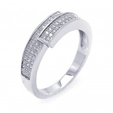 Wholesale Sterling Silver 925 Rhodium Plated Micro Pave CZ Overlap Ring - ACR00035