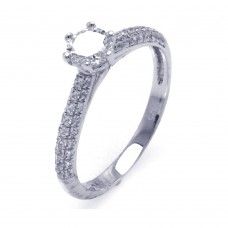 Sterling Silver Rhodium Plated Micro Pave CZ Ring - ACR00038