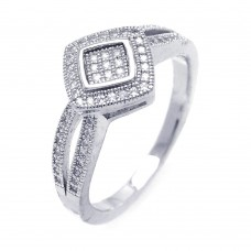 Sterling Silver Rhodium Plated Micro Pave CZ Diamond Shaped Ring - ACR00040