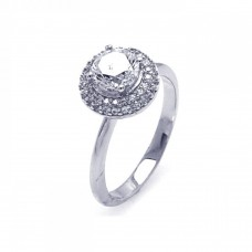 Sterling Silver Rhodium Plated Micro Pave Clear Round Center Cluster CZ Ring - ACR00041