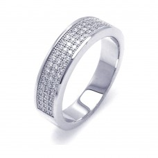 Sterling Silver Rhodium Plated Half Micro Pave CZ Ring - ACR00044