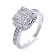 Sterling Silver Rhodium Plated Micro Pave CZ Square Ring - ACR00045