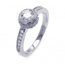 Sterling Silver Rhodium Plated Micro Pave Round Center CZ Circle Ring - ACR00046
