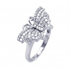 Sterling Silver Rhodium Plated Micro Pave CZ Butterfly Ring - ACR00048
