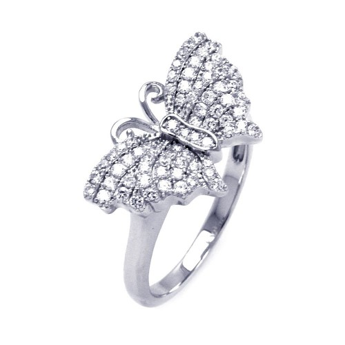 Wholesale Sterling Silver 925 Rhodium Plated Micro Pave CZ Butterfly Ring - ACR00048