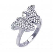 Sterling Silver Rhodium Plated Micro Pave CZ Butterfly Ring - ACR00050