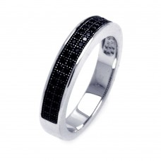 Sterling Silver Rhodium Plated Half Micro Pave Black CZ Ring - ACR00052