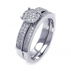 Sterling Silver Rhodium Plated Micro Pave CZ Bridal Wedding Ring Set - ACR00053
